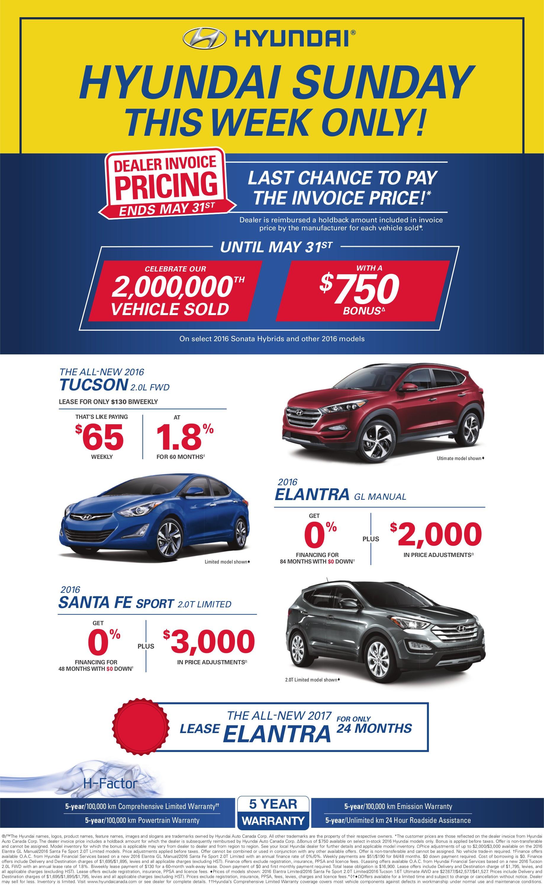 Hyundai Canada Incentives for the 2016 Elantra, Accent, Sonata, Tucson, and Santa Fe in Milton, Toronto, and the GTA
