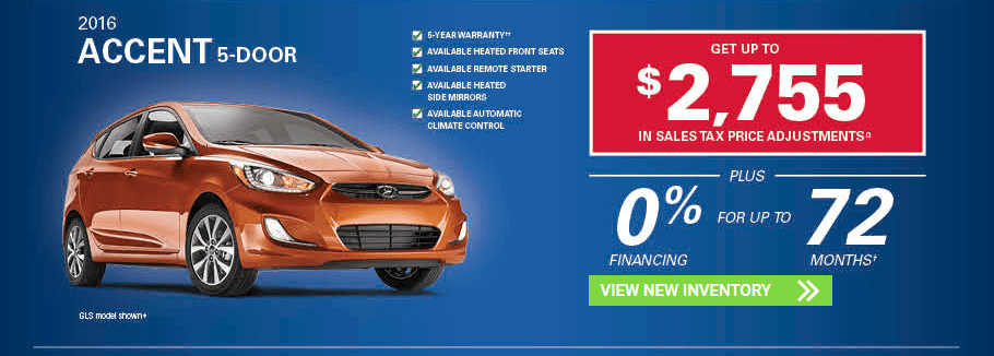 November 2016 Hyundai Accent 5-Door Incentives in Milton, Ontario and Toronto and the GTA.