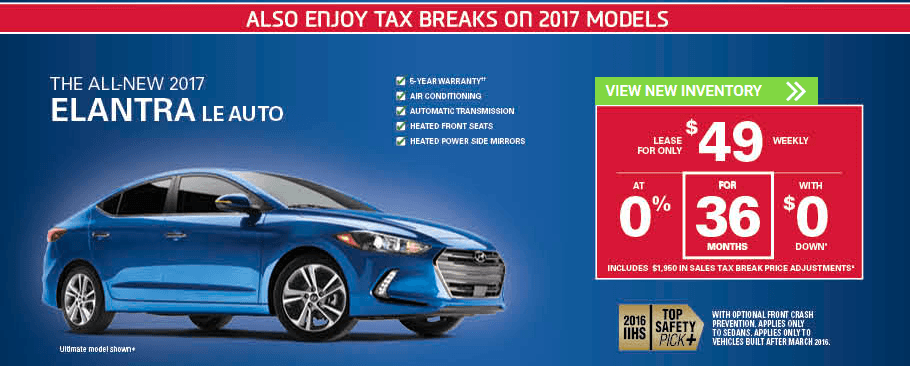 November 2017 Hyundai Elantra LE Incentives in Milton, Ontario and Toronto and the GTA.
