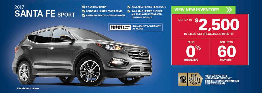 November 2017 Hyundai Santa Fe Sport Incentives in Milton, Ontario and Toronto and the GTA.