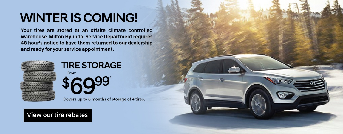 Save on Tire Storage at Milton Hyundai